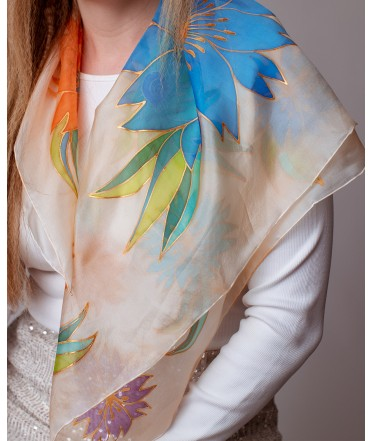 Colorful Flowers Hand Painted Silk Shawl