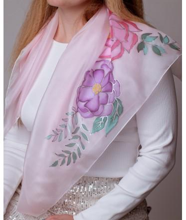 Beautiful Flowers Hand Painted Silk Shawl