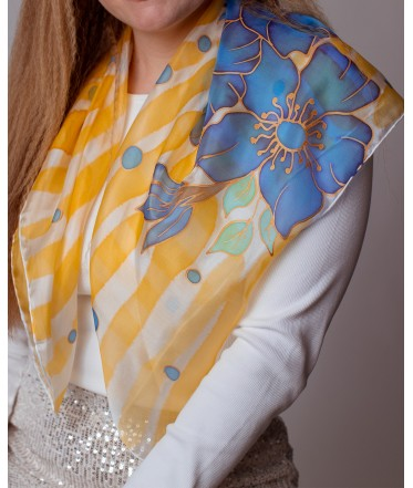 Blue Flowers Hand Painted Silk Shawl