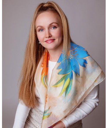 Colorful Flowers Hand Painted Silk Scarves Set - Mother & Daughter