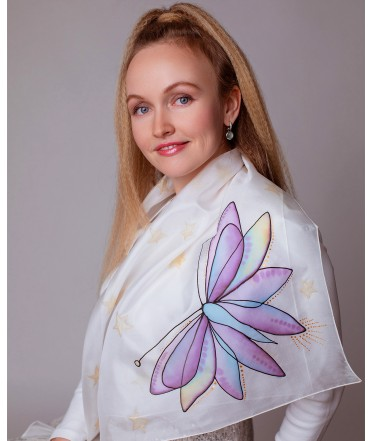 Purple Fairy and Purple Butterfly Hand Painted Silk Scarve Set - Mother & Daughter