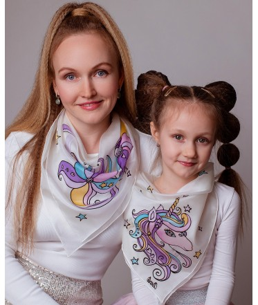 Unicorn and Flower Hand Painted Silk Scarves Set - Mother and Daughter