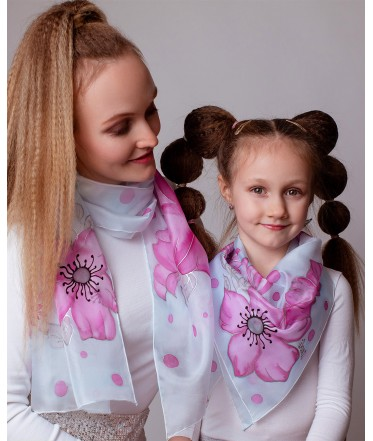 Pink Flowers Hand Painted silk Scarves Set - Mother & Daughter