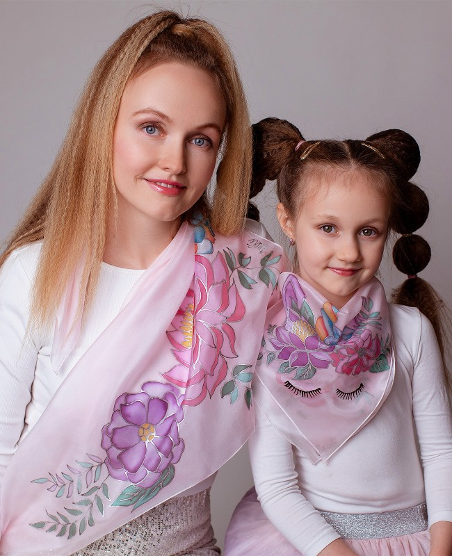 Beautiful Flowers and Unicorn Hand Painted Silk Scarves Set - Mother & Daughter