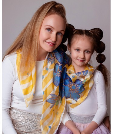 Blue Flowers Hand Painted Silk Scarves Set - Mother & Daughter