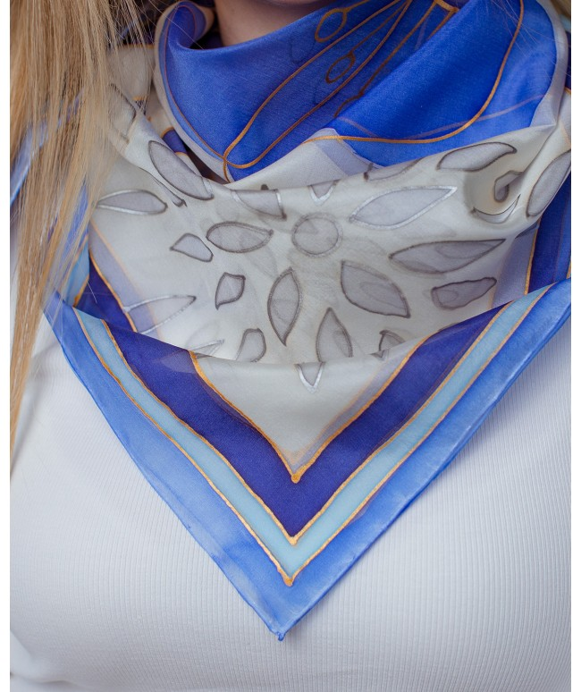 Blue Abstraction Hand Painted Silk Shawl