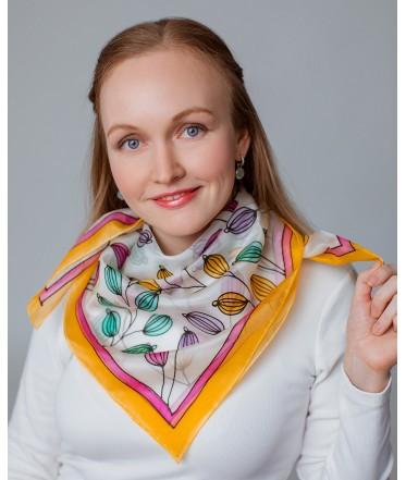 Colorful Nature Hand Painted Silk Shawl