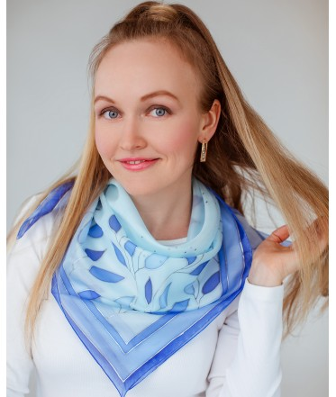 Blue Leaves Hand Painted Silk Shawl