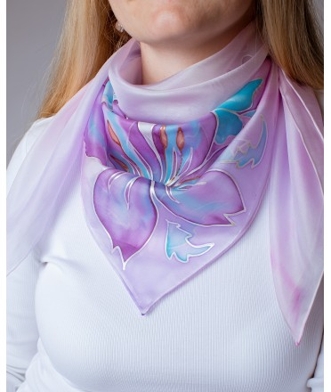 Lily Hand Painted Silk Shawl