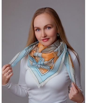 Blue and Vanilla Lily Hand Painted Silk Shawl