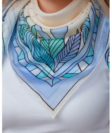Light Blue Nature motif Hand Painted Silk Shawl