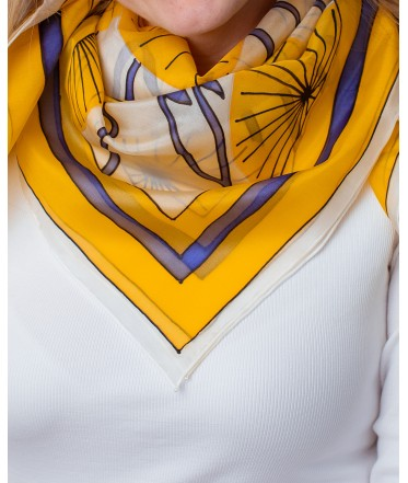 Blue/yellow Abstraction Hand Painted Silk Shawl