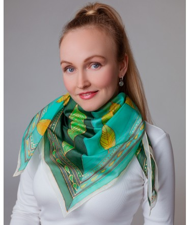 Leaves Hand Painted Silk Shawl