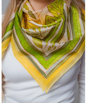 Green Abstraction Hand Painted Silk Shawl