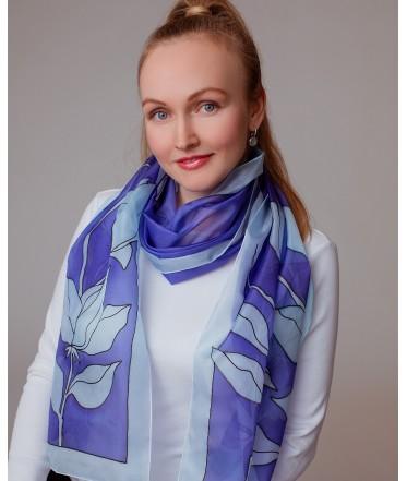Blue Flower Hand Painted Silk Scarf