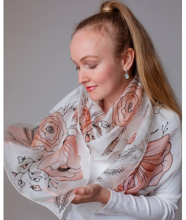 Delicate Flowers (2) Hand Painted Silk Scarf