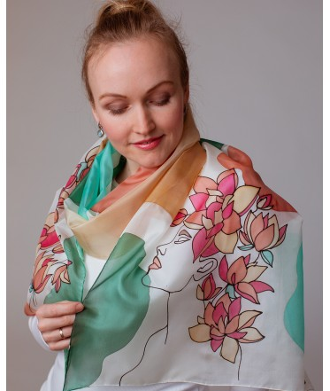 Beauty Hand Painted Silk Scarf