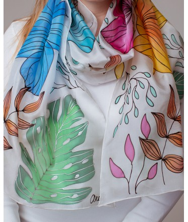 Colorful Summer Hand Painted Silk Scarf