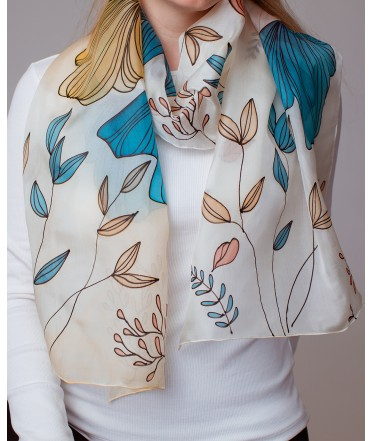Floral Motif Hand Painted Silk Scarf