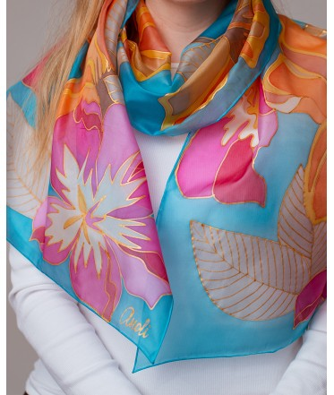Bright Flowers 2 Hand Painted Silk Scarf