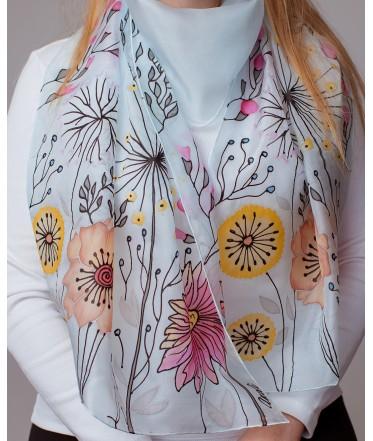 Field Flowers Hand Painted Silk Scarf