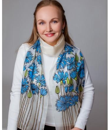 Blue Cornflowers 2 Hand Painted Silk Scarf