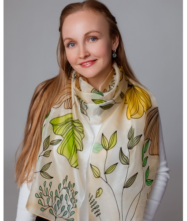 Autumn Nature Hand Painted Silk Scarf