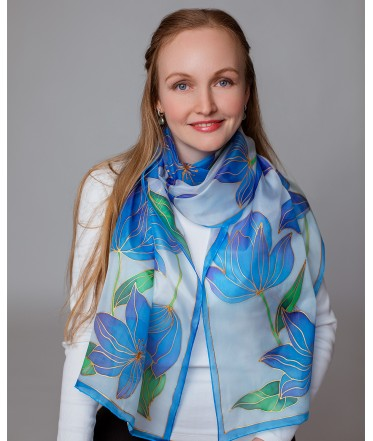 Blue Spring flowers Hand Painted Silk Scarf