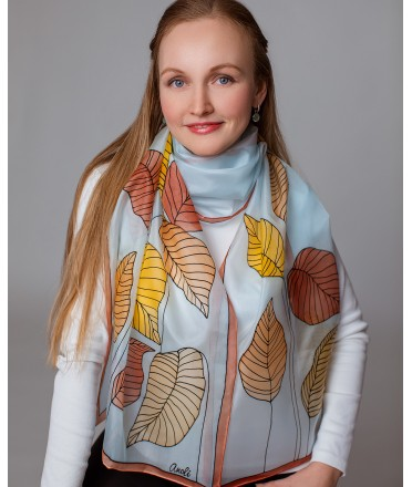 Autumn leaves Hand Painted Silk Scarf