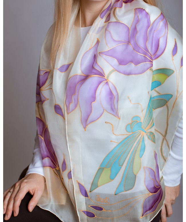 Beautiful Dragonfly Hand Painted Silk Scarf