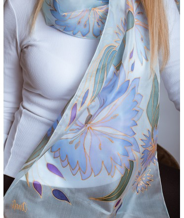 Light Blue - Purple Cornflowers Hand Painted Silk Scarf