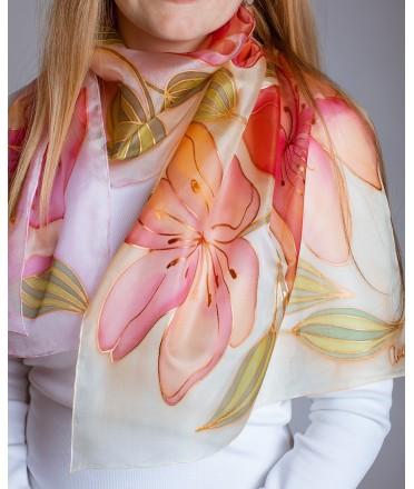 Beutiful Flowers Hand Painted Silk Scarf