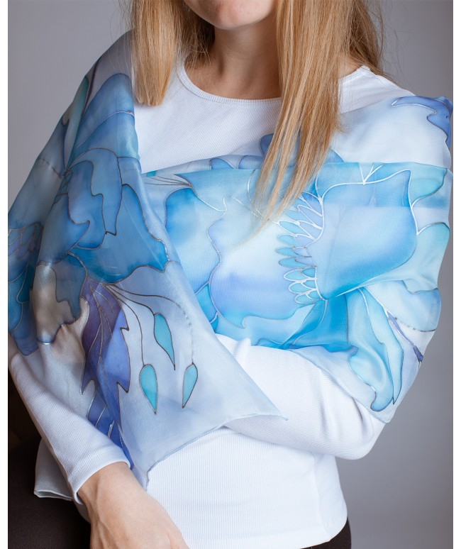 Blue Peony Hand Painted Silk Scarf