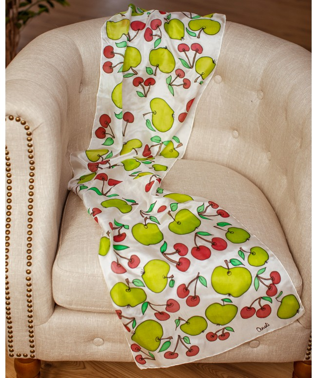Apple and Cherry Hand Painted Silk Scarf