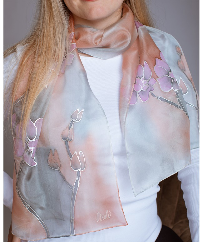 Orchid Hand Painted Silk Scarf