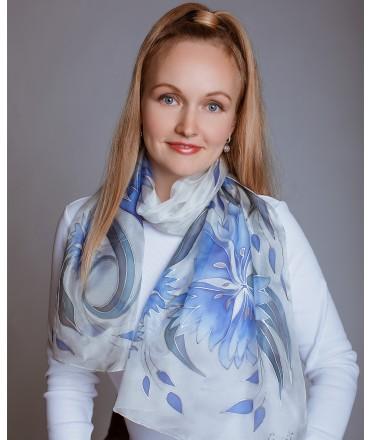 Blue Cornflowers Hand Painted Silk Scarf
