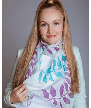 Blue and Purple Leaves Hand Painted Silk Scarf