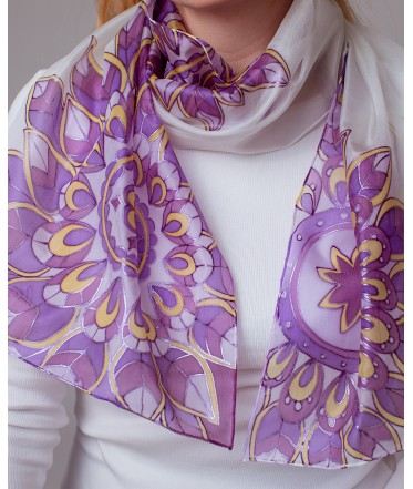 Purple Abstraction Hand Painted Silk Scarf