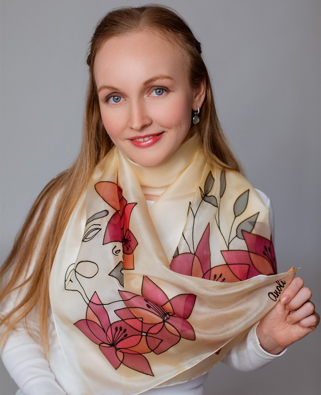 Beauty 3 Hand Painted Silk Scarf