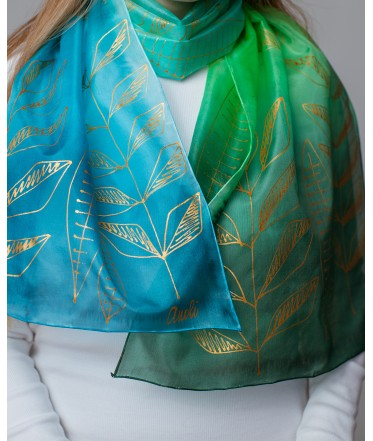 Blue-Green Nature Motif Hand Painted Silk Scarf
