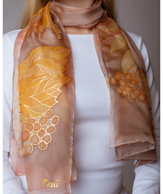 Autumn Hand Painted Silk Scarf