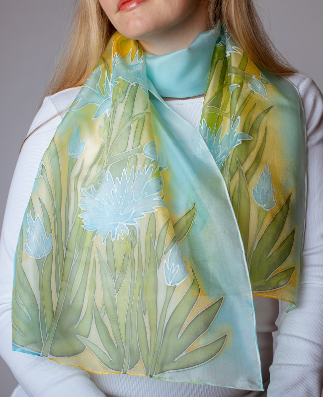 Cornflowers Hand Painted Silk Scarf