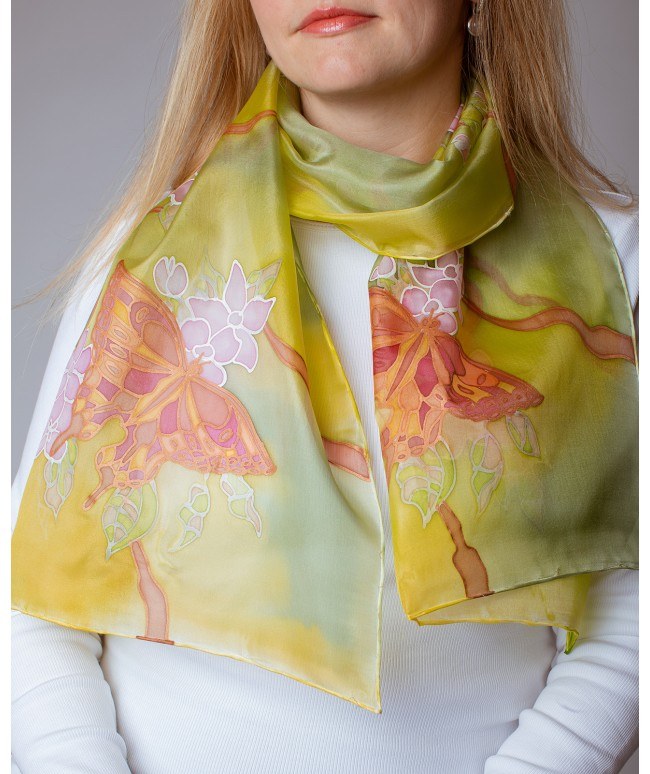 Butterfly (green) Hand Painted Silk Scarf