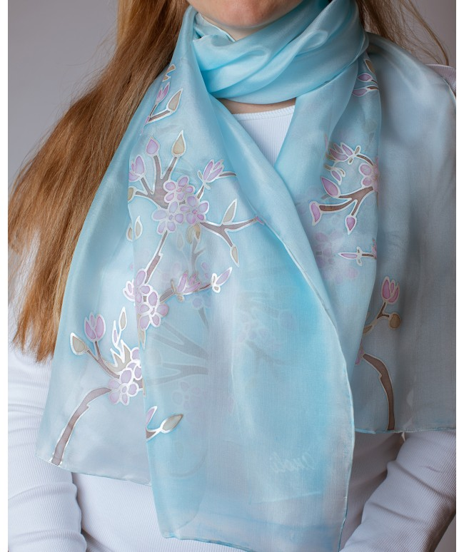 Sakura (light blue) Hand Painted Silk Scarf