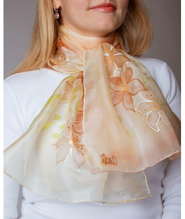 Beige Lily Hand Painted Silk Scarf